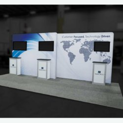20-foot trade show booth with counters