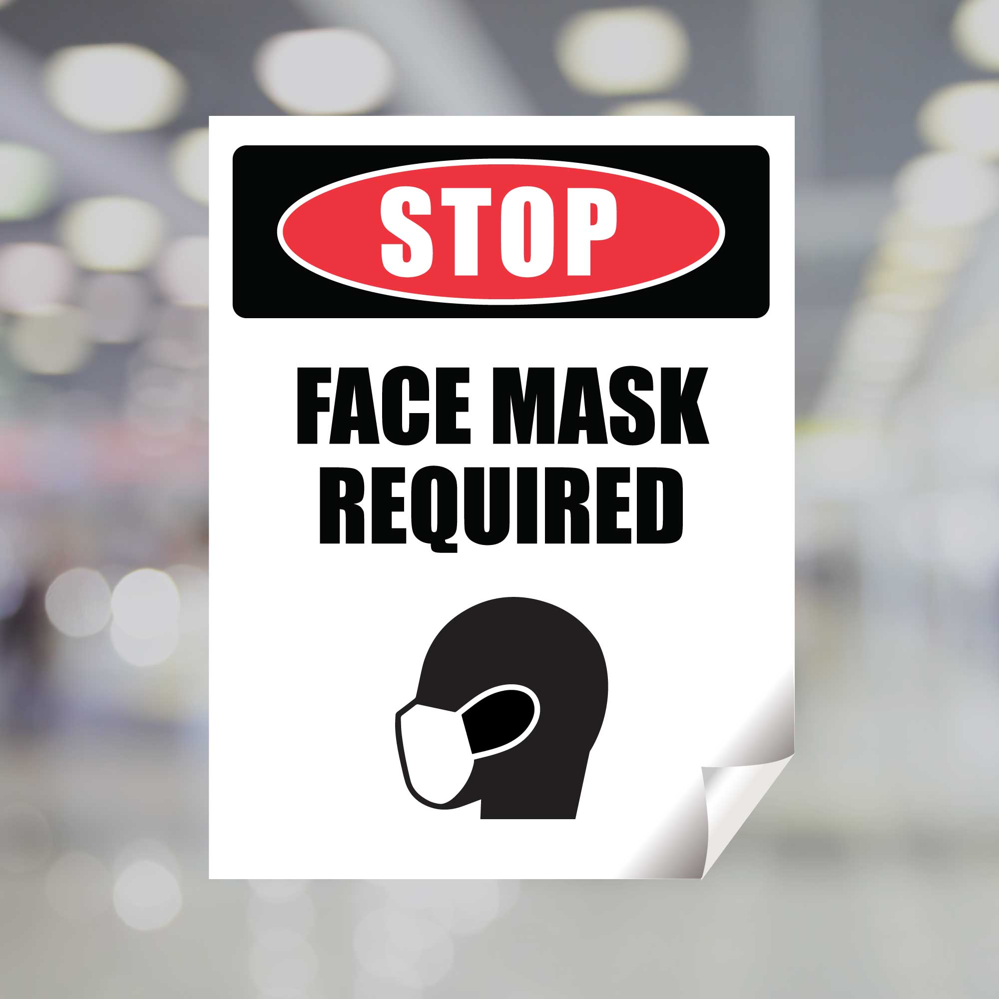 MANDATORY FACE MASK REQUIRED TO ENTER STICKER Store Business Decal Sign 4