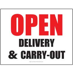 Open Delivery Carry-Out Sign