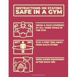 Instructions On Staying Safe In A Gym (Red)
