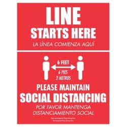 Line Starts Here – Social Distancing (English/Spanish)